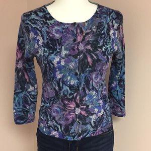 Lightweight Wool Cardigan Sweater Blues & Purples